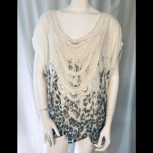 Free People cream and leopard tunic